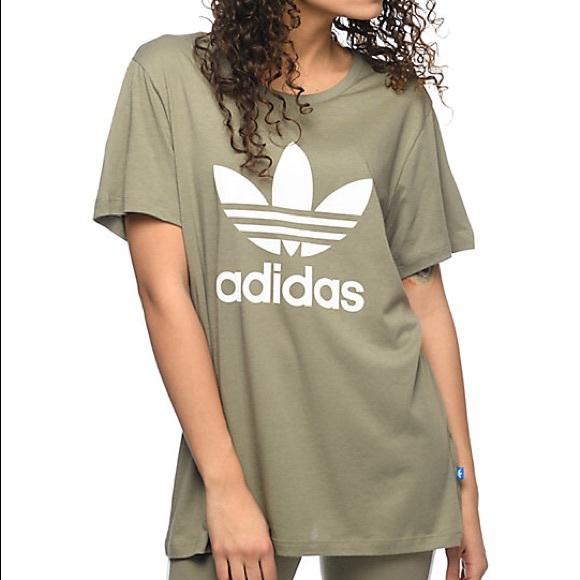 5a63a60e adidas Tops | Trefoil Boyfriend Tee In Olive | Poshmark